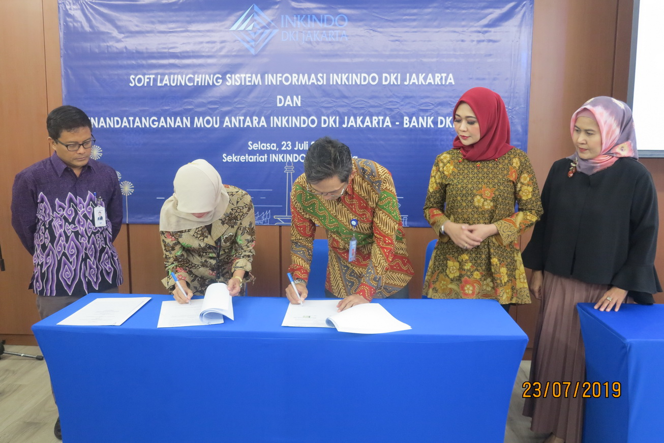 DPP INKINDO DKI Jakarta dan Bank DKI Jakarta Tandatangani MOU Fasilitas Kredit Modal Kerja Tanpa Agunan