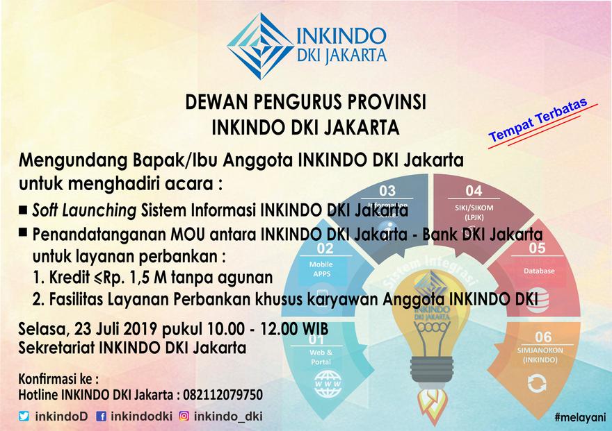 Soft Launching Sistem Informasi INKINDO DKI Jakarta dan Penandatanganan MOU antara INKINDO DKI dan Bank DKI
